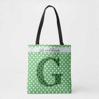 Tote Bag Personnalisez : Vert initial audacieux/noir