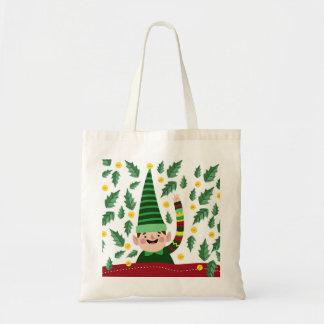 Tote Bag Petit Noël heureux Elf dans le chandail vert