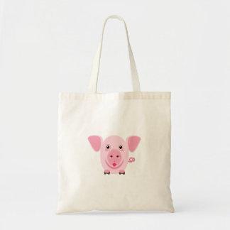 Tote Bag Petit porc rose mignon heureux