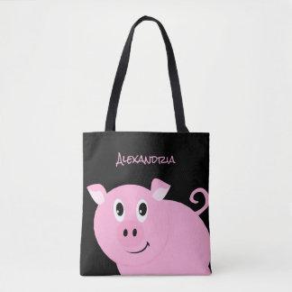 Tote Bag Petit porcin doux personnalisé par porc rose
