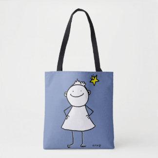 Tote Bag Petite femme heureuse et forte avec l'étoile