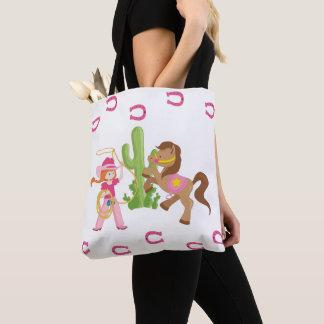Tote Bag Petits cow-girl et poney mignons