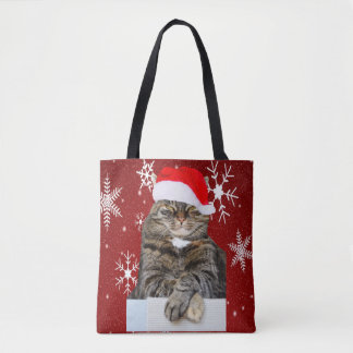 Tote Bag Photo de chat de Noël en flocon de neige de