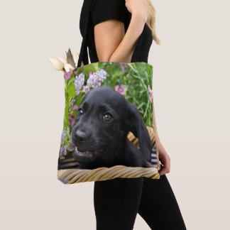 Tote Bag Photo noire mignonne d'animal familier de chiot de