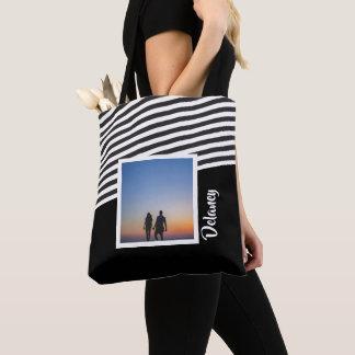 Tote Bag Photo personnalisée de motif noir et rayé