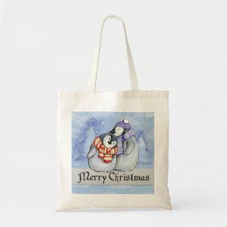 Tote Bag Pingouins doux d'hiver de Joyeux Noël petits