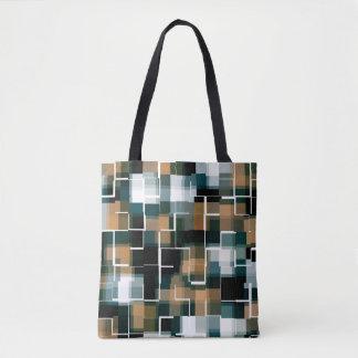 Tote Bag Plaid blanc noir turquoise à la mode de Brown