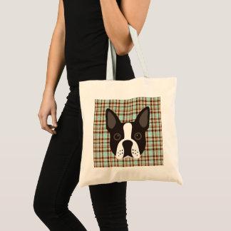 Tote Bag Plaid de tartan de chiot de Boston Terrier