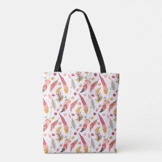 Tote Bag Plumes audacieuses et colorées de Boho
