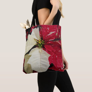 Tote Bag Poinsettia rouge et blanche florale
