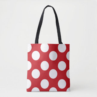 Tote Bag Point de polka rouge et blanc Fourre-tout