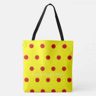 Tote Bag Pois rouge d'été sur le soleil personnalisé