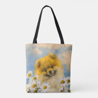 Tote Bag Pomeranian dans les marguerites