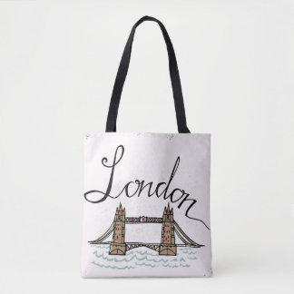 Tote Bag Pont en lettres de Londres de main