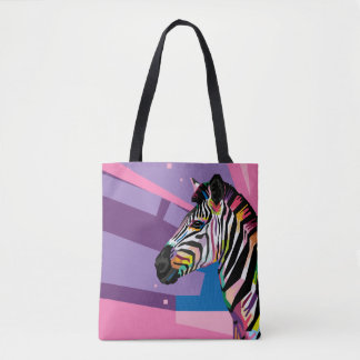 Tote Bag Portrait coloré de zèbre d'art de bruit