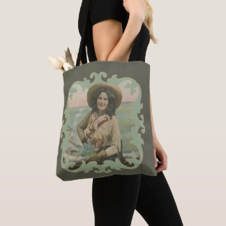 Tote Bag Portrait occidental vintage de cow-girl avec la
