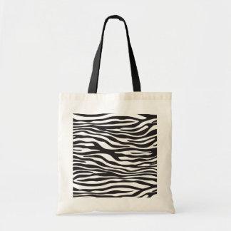 Tote Bag Poster de animal, rayures de zèbre - blanc noir