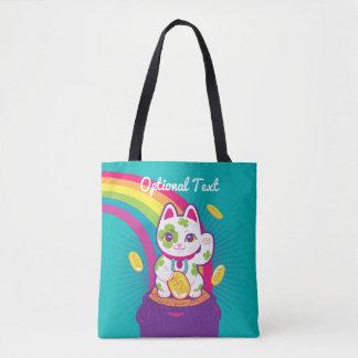 Tote Bag Pot de bonne chance de Maneki Neko de chat d'or