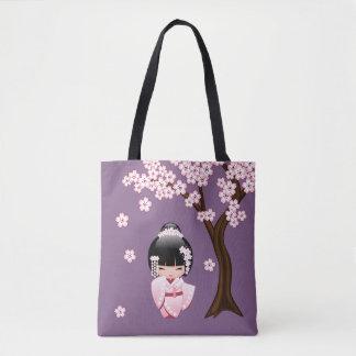 Tote Bag Poupée blanche de Kokeshi de kimono - fille de