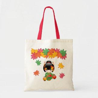 Tote Bag Poupée de Kokeshi de chute - fille de geisha verte