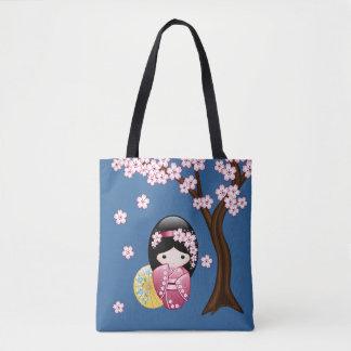 Tote Bag Poupée de Kokeshi de ressort - fille de geisha