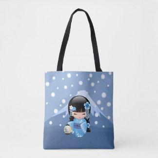 Tote Bag Poupée de Kokeshi d'hiver - fille de geisha bleue