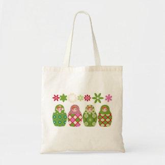 Tote Bag poupée russe vert