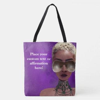 Tote Bag Pourpre blond d'art noir de beauté de baie de