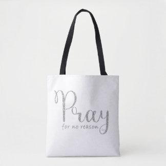 Tote Bag Priez le scintillement argenté et le Fourre-tout