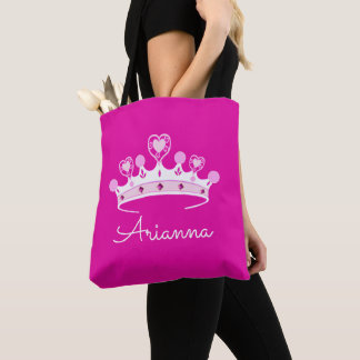 Tote Bag Princesse Crown Custom Personalized de roses