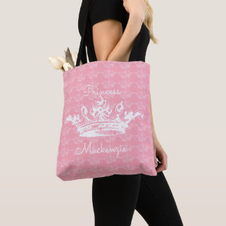 Tote Bag Princesse vintage Rose-n-Blanche Crown Personalize