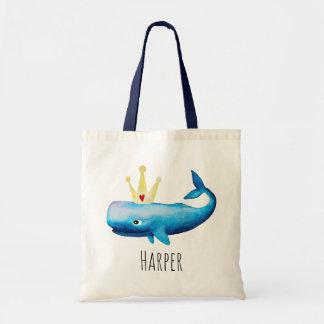 Tote Bag Princesse Whale et nom de l'aquarelle du bébé