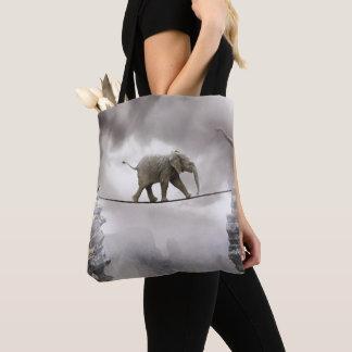 Tote Bag Promenades d'éléphant de bébé Tightrope