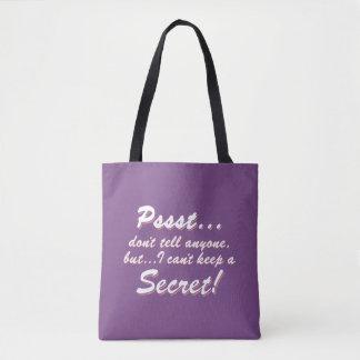 Tote Bag Pssst… je ne peux pas garder un SECRET (blanc)