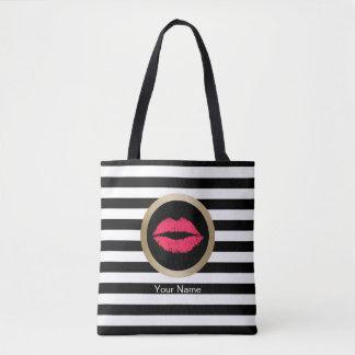 Tote Bag Rayures blanches noires modernes de lèvres rouges