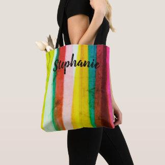 Tote Bag rayures colorées de fourre-tout personnalisées par