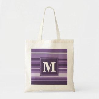 Tote Bag Rayures de lavande de monogramme
