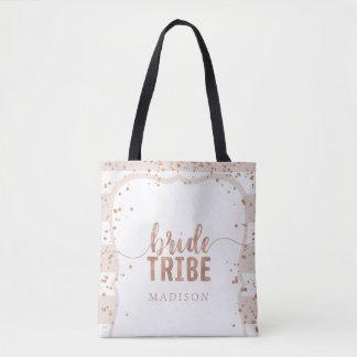 Tote Bag Rayures de sable et tribu rose de jeune mariée de