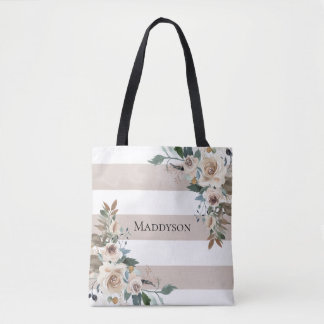 Tote Bag Rayures florales de Taupe d'aquarelle