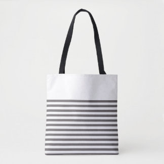 Tote Bag Rayures grises et blanches
