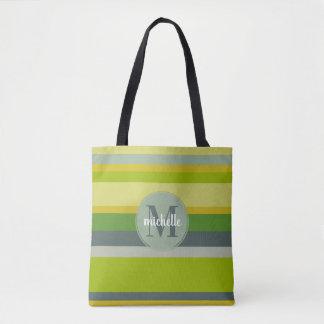 Tote Bag Rayures modernes audacieuses de vert de chaux de