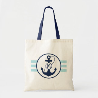 Tote Bag Rayures nautiques bleu-clair avec le monogramme