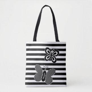 Tote Bag Rayures noires et blanches à la mode de papillon