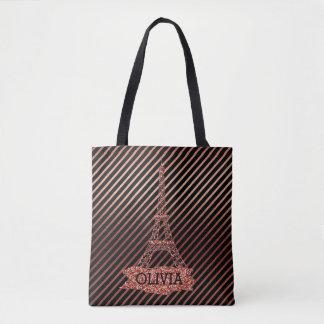 Tote Bag Rayures roses de noir d'or de Tour Eiffel rose de