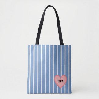 Tote Bag Rayures roses du coeur w/Blue
