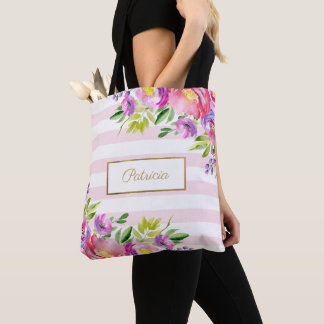 Tote Bag Rayures roses et blanches d'aquarelle florale chic