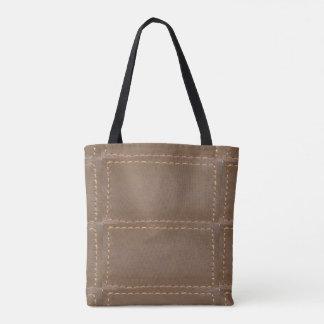 Tote Bag Regard en cuir vintage de finition de point