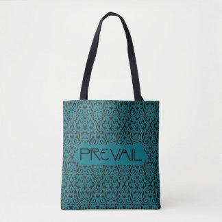 Tote Bag Régnez sur la damassé turquoise et noire