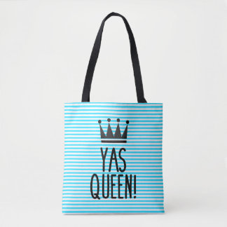 Tote Bag Reine de Yas ! Motif rayé bleu et blanc