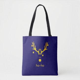 Tote Bag Renne minimaliste de Noël d'or de Faux sur le bleu
